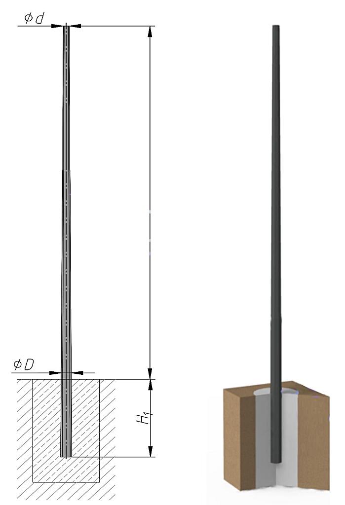 Схема опоры металлической