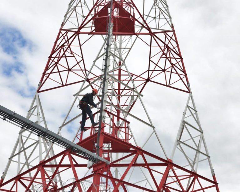 Монтаж опоры антенно-мачтового сооружения АМС