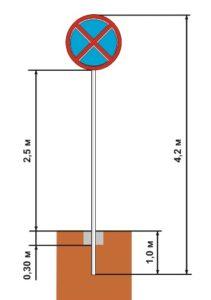 Схема монтажа дорожного знака